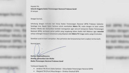 Beredar Surat Salinan Instruksi BPN Prabowo-Sandi Boikot Metro TV